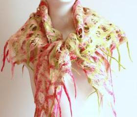 Women felted scarf cobweb felt wool silk shawl - pink green white